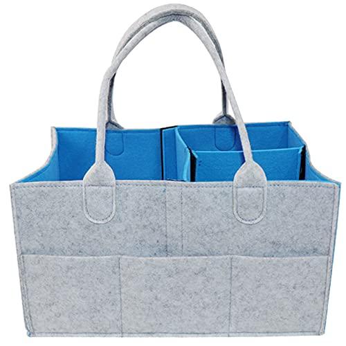 WSGFPO Bolsa Plegable Organizador Fieltro Organizador Pañales Bebe Comoda Caddy Organizador De Fieltro Bebé Pañales Caddy Cesta De Almacenamiento para Recién Nacido Coche Viaje Cielo Azul (1 Pieza)