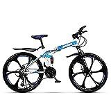 Bicicleta De Montaña para Adultos, Bicicleta Montaña Plegable, Bicicleta Ultra Ligera 24/26 Pulgadas, Bicicleta Montaña Freno Disco Dual 21/24/27 Velocidades, Marco Acero Ligero Fuerte,D24,21 Speed