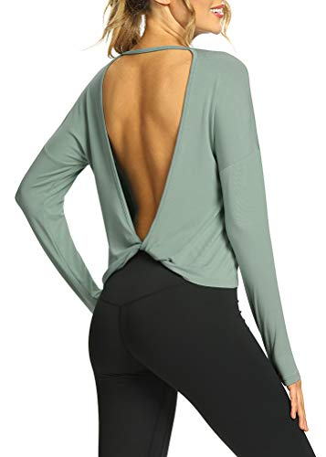 Mippo Long Sleeve Workout Tops Backless Shirts Flowy Open Back Long Sleeve Athletic Gym Shirts Activewear Tops Dance Sports Running Clothes for Women Gray Green S