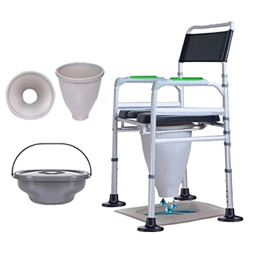 QDY-Bedside Commodes Adjustable Height Mobile Toilet for Disabled, Easy to Use Foldable Toilet Chair Shower Transport Chair with 2 Inner Barrel, The Best Gift to Elderly