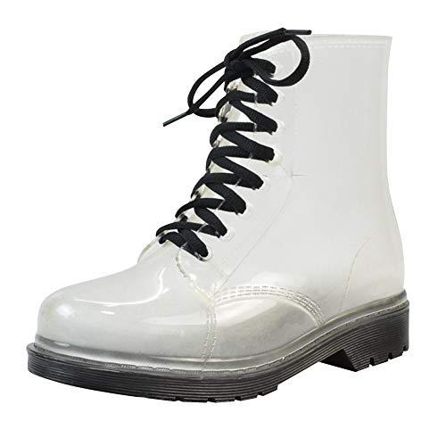 uirend Stiefel Stiefeletten Schuhe Damen - wasserdichte Transparente Gummistiefel Schnee Regen Warm Chelsea Boots Winter Regenstiefel