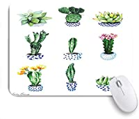 ECOMAOMI 可愛いマウスパッド 花と別のサボテン 滑り止めゴムバッキングマウスパッドノートブックコンピュータマウスマット