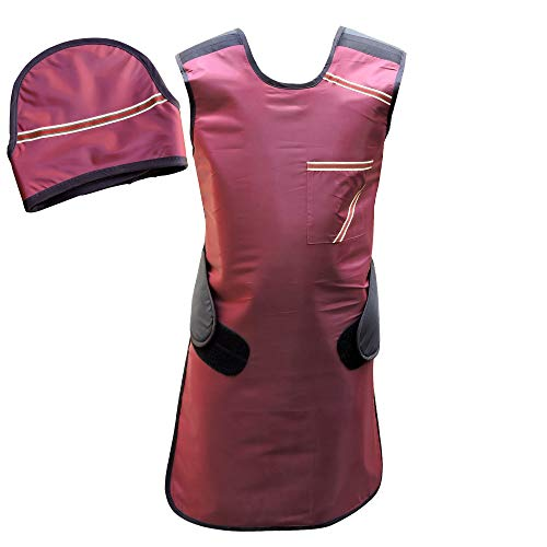 HealthGoodsIn - Lead Apron with Robust Hanger and Thyroid Sheild Set | 0.5mm Lead (pb) Equivalency Protection for Working with X-Ray Machine (Maroon)