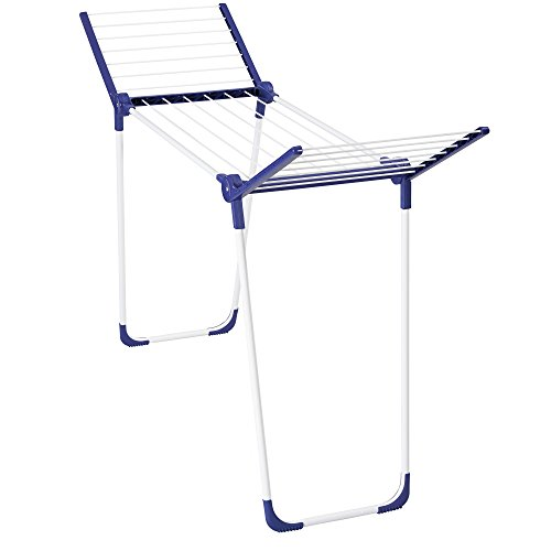 Leifheit Pegasus 120 Solid Comp Folding Clothes Drying Rack Includes Wings for Longer Garments, Blue and White