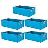 Haoun 5 Pack Fabric Raised Garden Bed,Square Garden Flower Grow Bag Vegetable Planting Bag Planter Pot with Handles for Plants,Flowers,Vegetables - Sky Blue