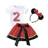 FYMNSI - Camiseta de manga corta para bebés y niños pequeños (3 piezas, incluye falda de lunares y diadema para la oreja) Rojo 2 2 Años