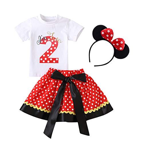 FYMNSI Conjunto de camiseta de manga corta para bebé y niña, con falda de lunares retro y diadema de 3 piezas / 2 piezas