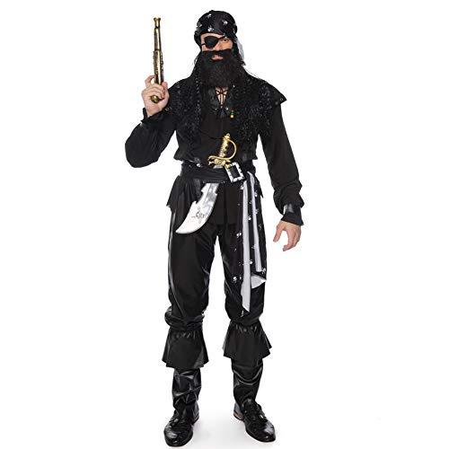 LBL-LLL Halloween Cosplay Kostüm, Einäugiges Piratenkostümdesign, Bandana Augenmaske Bart Top Lederhose Und Fußabdeckungen Und 2 Gürtel, Geeignet Für Carnival Fancy Dress Party,L