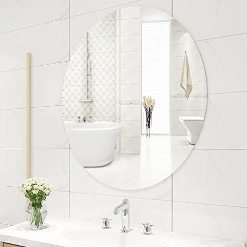zcyg Espejo baño Espejos Pared Mirror Espejo De Pared, Espejo De Baño De Pared Sin Marco Espejo Elíptico Maquillaje Espejo Espejo De Afeitado Decoración De Baño(Size:45 * 60CM)