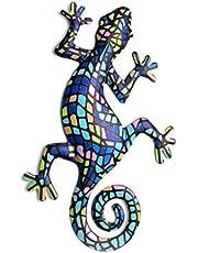 OSELLINE Wanddecoratie, metalen gekko Wall Art Decor inspirerende sculptuur hangen binnen buiten voor thuis 5#