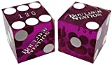 Cyber-Deals 19mm Craps Dice Pair Matching Serial Numbers - Authentic Las Vegas Casino Table-Played Dice (Boulder Station (Purple Polished))