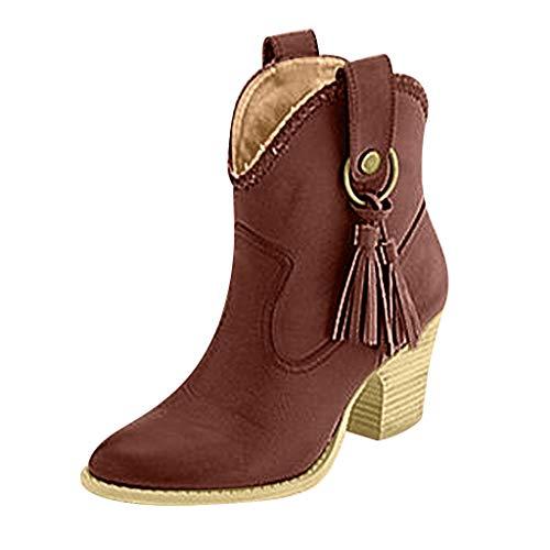 Fannyfuny Botas para Mujer Vintage Botas Biker Tacones Zapatillas de Cuña Tacon Alto Botines Martin Bota de Goma con Borla Calzado Casuales Zapatos Tobillo con Puntiagudas