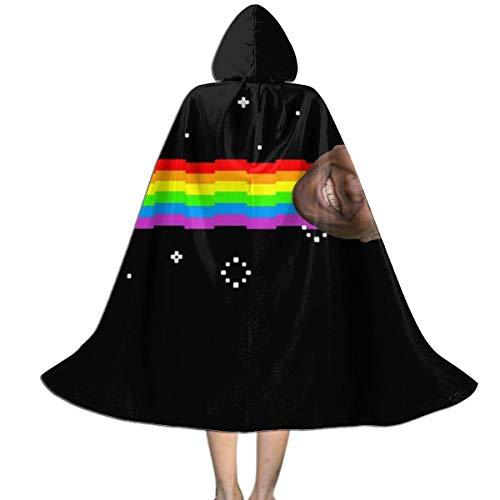 NUJSHF Unisex Kinder Kapuzenumhang mit Kapuze, Motiv Ainsley Harriott Nyan Cat Meme, Halloween, Party, Dekoration, Rolle, Cosplay, Kostüme Outwear