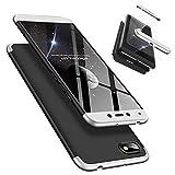 Laixin 3 in 1 Handyhülle für Xiaomi Redmi 6A Hülle + Panzerglas, Ultra Dünn PC Plastik Anti-Kratzen Schutzhülle Schutz Hülle Cover mit Bildschirmschutzfolie, Silber/Schwarz