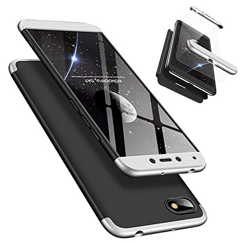Funda Xiaomi Redmi 6A 360°Caja Caso + Vidrio Templado Laixin 3 in 1 Carcasa Todo Incluido Anti-Scratch Protectora de teléfono Case Cover para Xiaomi Redmi 6A (Plateado Negro)
