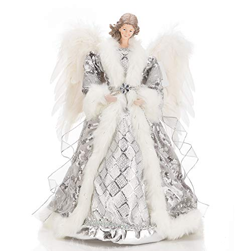 blitzlabs Christmas Angel Tree Topper White Feather Wings Tabletop Angel with Silver Dress 16 Inch