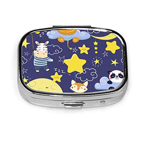 JOJOshop 3D Heldere Hypnotische Spirals Schilderij Pil Box/Pill Case-Vierkante Pil Box/Case-Twee-Compartiment Pil Box/Pill Case Eén maat Cute Sleeping Animals and Moons and Stars