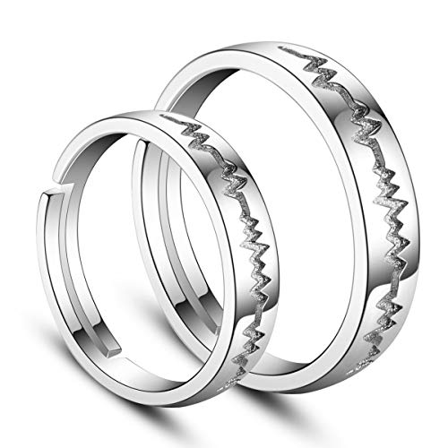 SHEGRACEin Paar Ringe aus 925er Sterlingsilber mit 3A-Zirkonia, Mattring für Partner, Platin, 17-19 mm, Verstellbar