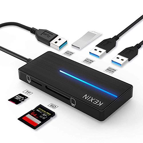 KEXIN Hub USB 3.0 3 Porte Trasferimento Dati Hub, Multiporta Ultra Sottile USB 3.0 Hub con ettore Schede SD TF Alta Velocità 5 Gbps per PC, Notebook, Laptop, Chiavetta USB, HDD mobile e Altro Nero