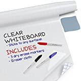 """Kassa Clear Dry Erase Board Sticker - 17.3' x 78"""" (6.5 Feet) - 3 Dry-Erase Markers Included - Transparent Adhesive White Board Film for Refrigerator, Desk, Office - Glass Dry Erase Board Alternative"""