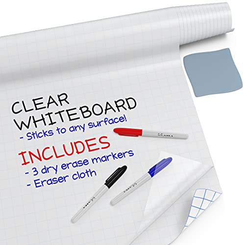 """Kassa Clear Dry Erase Board Sticker - 17.3"""" x 78"""" (6.5 Feet) - 3 Dry-Erase Markers Included - Transparent Adhesive White Board Film for Refrigerator, Desk, Office - Glass Dry Erase Board Alternative"""