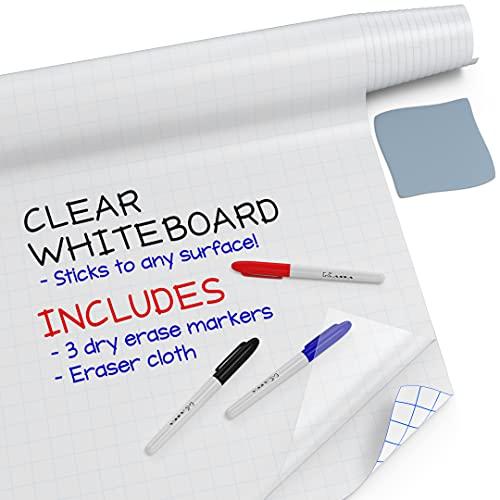 """Kassa Clear Dry Erase Board Sticker - 17.3' x 78"""" (6.5 Feet) - 3 Dry-Erase..."""