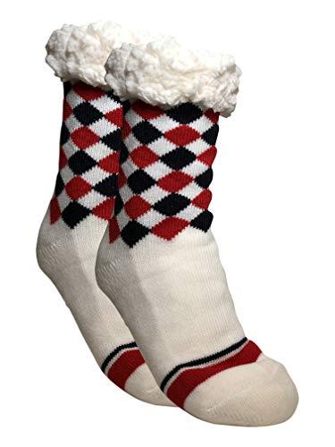 BfL 1 Paar Kuschelsocken, Hausschuhsocken mit Rutschfester ABS Sohle   warme Damen Socken   Wintersocken, Hüttensocken mit Anti Rutsch Noppen & Teddyfell   (39-42, Weiß rot/blaue Karos)