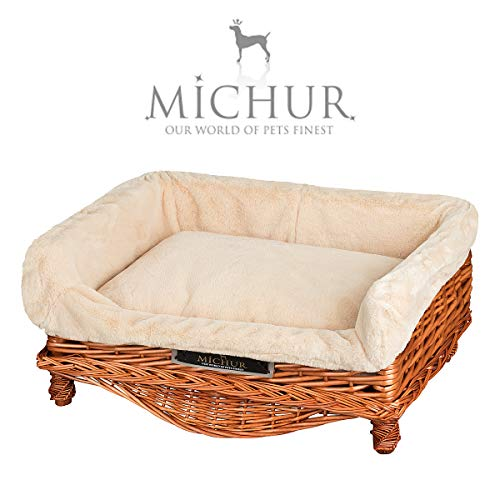 MICHUR LINDA COGNAC, dog bed, dog basket willow with pillow, dog sofa, dog basket, basket for dogs willow, rattan, COGNAC, about 21,65
