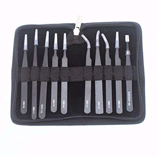 Lala haak 10 STKS RVS Precisie Pincet Set Anti-Statische Buigen Wimper Pincet Unisex Geschikt voor Craft Electronics Sieraden Laboratorium Werk en Mobiele Schoonheid