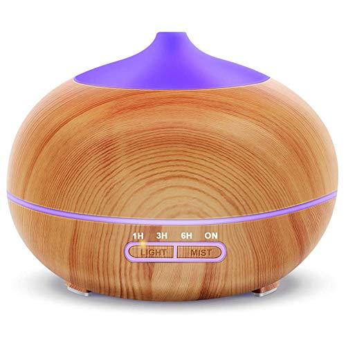 Difusor de aceite esencial, difusores de 400 ml, humidificador difusor de aromaterapia ultrasónico con modo de niebla ajustable, 7 luces LED que cambian de color y apagado automático sin agua
