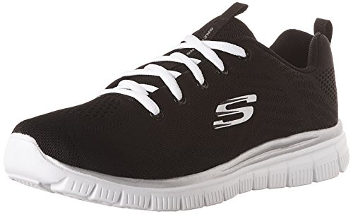 Skechers Women 12615 Low-Top Trainers, Black (Black Mesh/White Trim Bkw), 5 UK (38 EU)