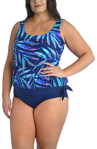 Maxine Of Hollywood Women's Side Tie Scoop Neck Banded Tankini Swimsuit Top, Palm, 19, Navy//Painted P, 22