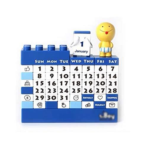 HJHJ Calendario de Escritorio Multiusos Calendario perpetuo de Bloques de Bricolaje Calendario de Juguete para niños y Adultos Calendario de Escritorio Divertido (Color : Blue)