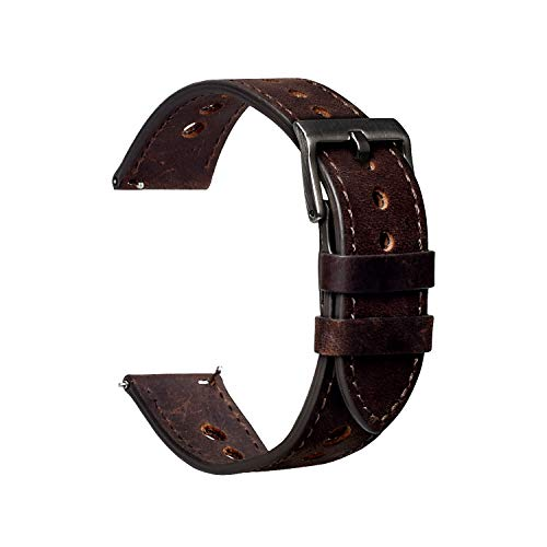 Cauwsai Leather Watch Band, Classic Quick Release Genuine Leather Watch Strap,Crazy Horse Pattern, 20mm, Dark coffee