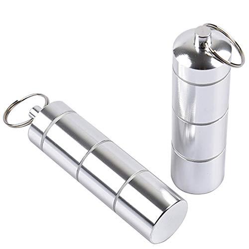 yuezhi Pillendoos sleutelhanger sleutelhanger mini opbergdoos kleine capsule waterdichte tablettendoos aluminium pillendoosjes sleutelhangers draagbaar waterdicht 2 stuks