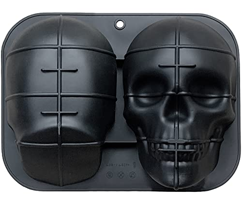 JETKONG Extra Large Silicone Skull Cake Mold Haunted Skull Baking Cake Pan for Halloween and Birthday Party
