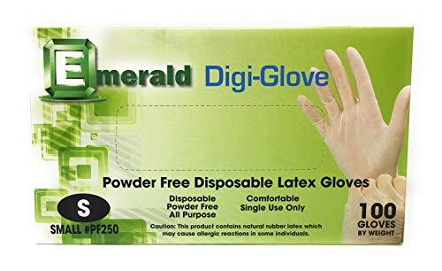 Emerald Digi-Gloves, Powder Free Disposable Latex Gloves (Small)