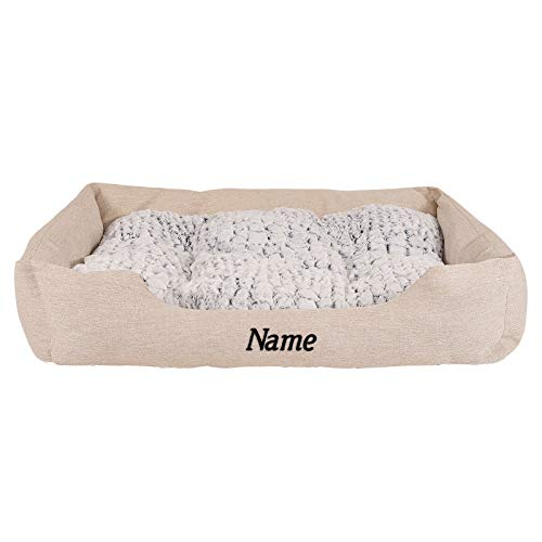 Hundebett Hundekissen Hundekörbchen mit Wendekissen meliert (L) 110x80 cm Beige (mit Namensaufdruck)