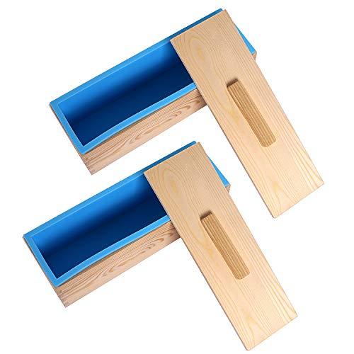 KEILEOHO Silikonform für Seife, 1,2 l, mit Holzbox und Deckel, flexible rechteckige Seifenformen für Seife, Kerzen, Kuchen, Schokolade, Muffin, Pudding, 2 Stück