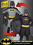 Ciao 11720.3-4 Batman 2 en 1 (Classic/Dark Knight) Disfraz original de DC Comics (tamaño 3-4 años) con músculos pectorales acolchados niño, negro, Girgio, 3-4