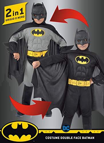 Ciao 11720.3-4 Batman 2 en 1 (Classic/Dark Knight) Disfraz original de DC Comics (tamao 3-4 aos) con msculos pectorales acolchados nio, negro, Girgio, 3-4