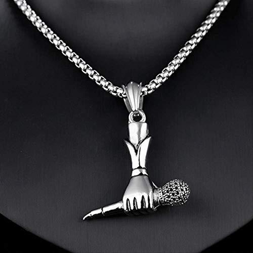 Titan Stahl Hiphop hält ein Mikrofon Anhänger Männer Halsketten Schmuck Retro Rock Sänger Geschenk