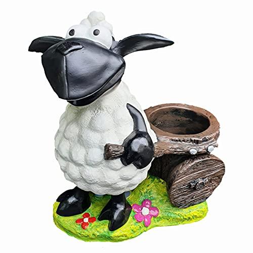 Aspinaworld Schaf Molly mit Karre, 44 cm, wetterfeste Gartenfigur aus Kunstharz, Schaf Figur