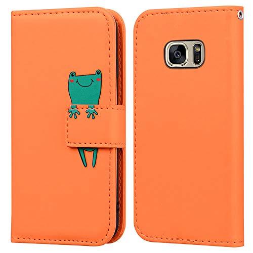 Ailisi Samsung Galaxy S7 Hülle, Karikatur Grün Frog Muster Leder Handyhülle Brieftasche Schutzhülle Leder Flip Hülle Wallet Cover Klapphüllen Tasche Etui mit Kartenfächern+Stand -Frosch, Orange