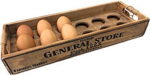 Wooden Egg Holder crate storage box rustic farmhouse decor for one dozen 12 eggs product image