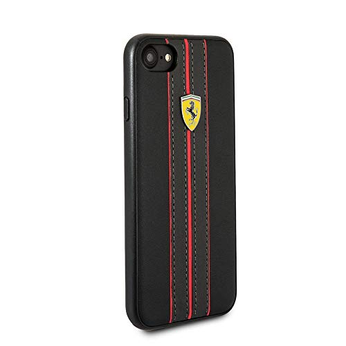 Ferrari PU Leather Case for iPhone SE (2020) iPhone 8 and iPhone 7 Hard Phone Case with Contrasting Black-Red Stitching finishes Easy Snap-on Shock Absorption Cover Officially Licensed (Black).