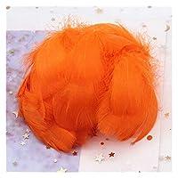 XAZTY 天然ガチョウの羽4-8 cm小さな浮遊カラフルな白鳥の羽、クラフトの結婚式のジュエリー、家の装飾羽100pcs (Color : Orange red 100pcs)