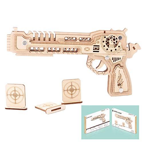 HFXZ2018 Holz-Konstruktion 3D-Puzzle Spielzeug, DIY Holz-Gewehr mit Gummibänder, Pistole Bausatz, Gun Modellbau Kits geeignet für Jungen/Mädchen/Geschenke