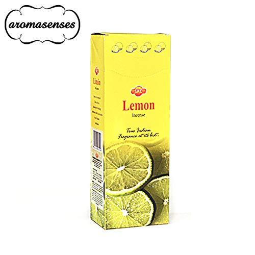 AROMASENSES Incienso Limón Sac .- 1 Caja de 6 Paquetes Hexagonales con 20 Varillas Cada uno.