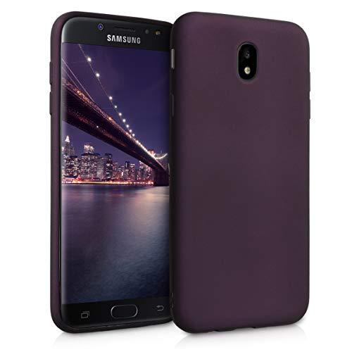 kwmobile Hülle kompatibel mit Samsung Galaxy J7 (2017) DUOS - Hülle Silikon metallisch schimmernd - Handyhülle Metallic Brombeere